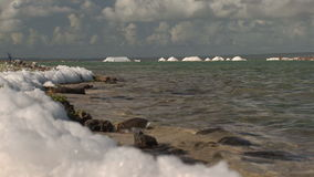 Foam at salt pan on Bonaire stock video footage