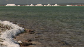 Foam at salt pan on Bonaire stock footage