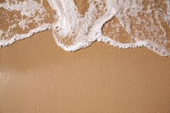 Foam on sand. Close-up photo of the sea wave Stock Images