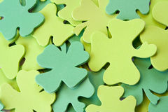 Foam st pattys day. Foam shamrocks stacked on top of each other nice  background for the web Royalty Free Stock Image