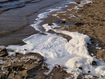 Foam on the surface of the water, South Bohemia. Czech Republic Royalty Free Stock Photography