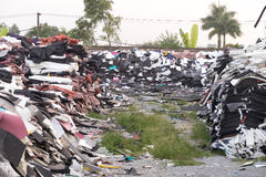 Foam unused Were left piled on the ground. For recycling Royalty Free Stock Photo