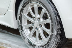 Foam on the wheels. Royalty Free Stock Images
