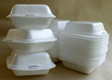 A foam. A white foam food container royalty free stock photos