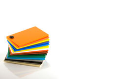 Foamex Swatches. Stack of coloured foam board swatch cards Stock Photo
