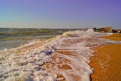 Foaming sea waves on  brown sand Stock Images