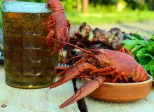 Foamy beer in a glass and boiled crawfish closeup, grilled meat on skewers in the background Royalty Free Stock Photos