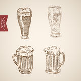 Foamy beer glasses engraving lineart vector retro vintage Royalty Free Stock Photos