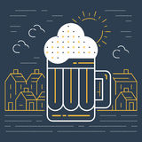 Foamy beer mug linear icon Stock Photo