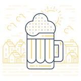 Foamy beer mug linear icon Royalty Free Stock Photography