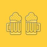 Foamy beer mugs linear icon Stock Photos