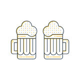 Foamy beer mugs linear icon Royalty Free Stock Photo