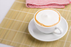 Foamy cappuccino. Cup of cappuccino , hot milk soft relaxing Stock Images