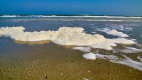 Foamy fala kipiel która myje na ląd na wyspie Terschelling Fotografia Stock