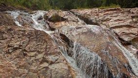 Foamy Mountain Stream Cascade Washes Brown Rocks stock video footage