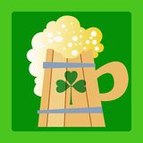 Foamy mug of beer a day Patrick. Foamy mug of beer in Patricks day with green clover vector illustration
