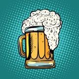 Foamy mug of beer pop art retro Stock Photography