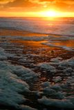 Foamy sunset. Sunset in Katwijk, The Netherlands Stock Photos