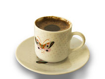Foamy Turkish Coffee Cup With Butterfly Pattern Royalty Free Stock Photo
