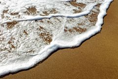 Foamy wave of the sea splashing on a sandy beach Stock Images