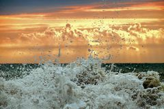 A foamy wave splash. In front of sunset cloudy golden sky Royalty Free Stock Image