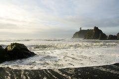 Foamy waves. At sunset on Ruby Beach on the Washington Coast Stock Image