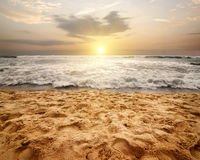 Foamy waves of ocean. Foamy waves of Indian ocean at sunset, Sri Lanka Royalty Free Stock Photos