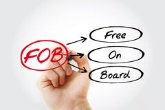 FOB - Free On Board acronym with marker, business concept background