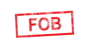 FOB in red rectangular stamp Royalty Free Stock Photo