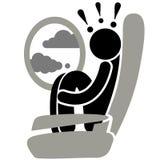 Fobia da aviação Aerophobia phobia turbulence Medo do voo Logotipo, ícone, silhueta, etiqueta, sinal ilustração do vetor