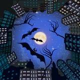 Fobie in stad bij nacht Royalty-vrije Stock Foto's