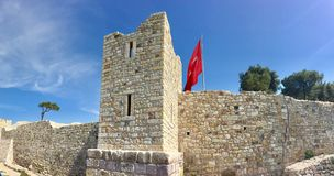 Foca castle of old Foca, Izmir. Due to seals floating in the sea of the town, the settlement was n. FOÇA, TURKEY - APRIL 29, 2017 : Foca castle of old Foca Royalty Free Stock Photo
