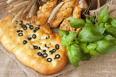 Focaccia with black olives Stock Photos