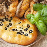 Focaccia with black olives Royalty Free Stock Photography