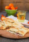 Focaccia with blue cheese, pear and bacon Royalty Free Stock Photography