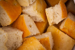 Focaccia bread. Fresh focaccia bread cut in pieces Royalty Free Stock Photography