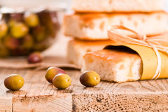 Focaccia bread on cutting board. Royalty Free Stock Image