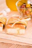 Focaccia bread on cutting board. Stock Photos