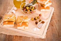 Focaccia bread on cutting board. Stock Photo