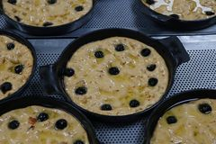 Focaccia bread dough portions in a metal baking plate. For proofing royalty free stock images
