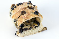 Focaccia bread with green and black olives Stock Image