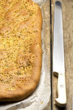 Focaccia Bread Knife Stock Photography