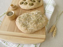 Focaccia bread with olives or rosemary Royalty Free Stock Photo