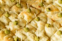Focaccia chleb z oliwkami Zdjęcie Royalty Free