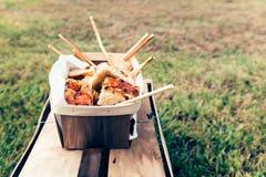 Focaccia e cesta do palito Fotografia de Stock Royalty Free