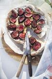Focaccia with figs Stock Photos