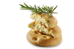 Focaccia flat bread with rosemary_4. Typical Italian focaccia with rosemary on white background Stock Images
