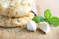 Focaccia. With garlic and basil Stock Photography