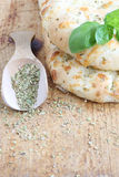 Focaccia. With garlic and basil Stock Photo