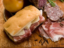 Focaccia with ham and cheese Stock Images